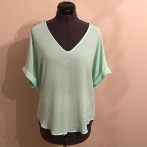 Lush V Neck Top Cuffed Short Sleeves. Size Small.